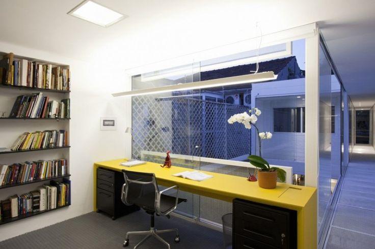 書斎,ワークスペース,開放的,ガラス張り,中庭,狭小住宅