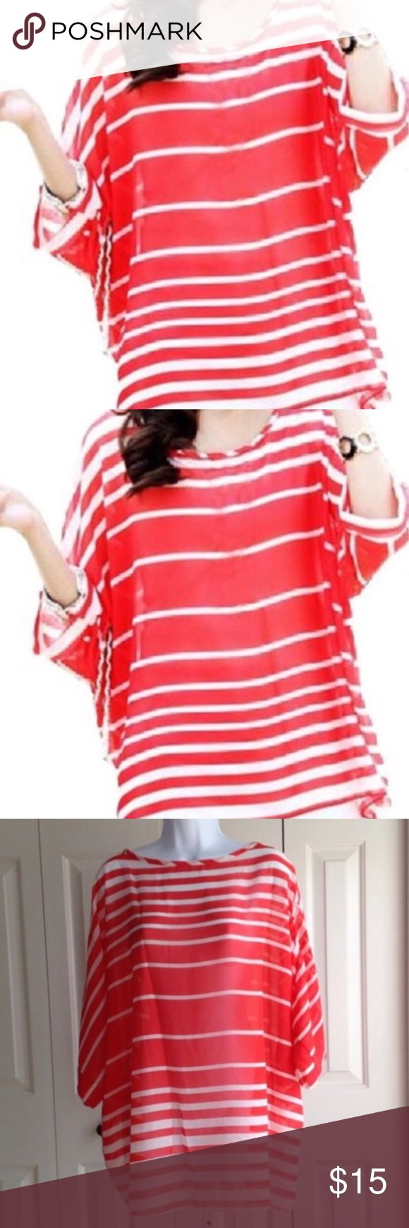 "RED /WHITE BATWING TOP Stylish!! Effortless for the warmer months or vacation. Pairs great with a tank top underneath and you're ready. Red and white stripes with batwing sleeves. Back Length 27"". Front Length 25"". Arm 6"". OSFM. Chiffon. -No trades. EUC 51twenty Tops"