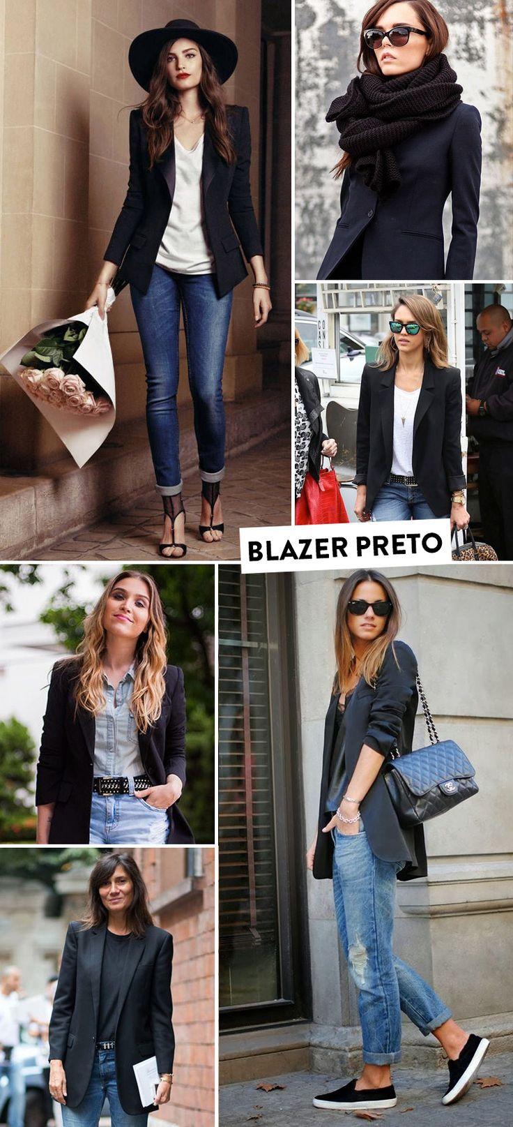 Inspirações de como usar o blazer preto.