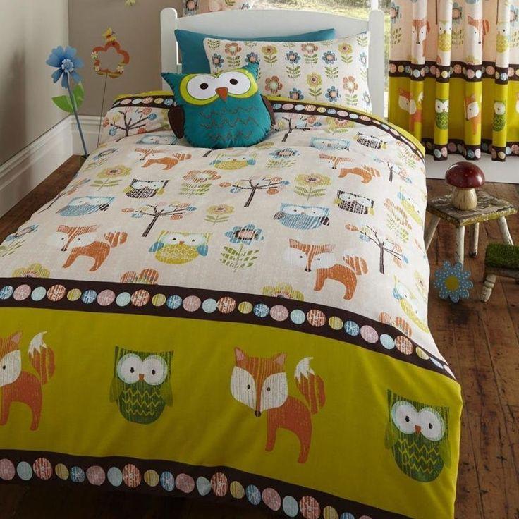 Lot Housse De Couette Simple Motif Créatures Bois Chouette Renard in Maison, Literie, linge de lit, Linge de lit, ensembles   eBay