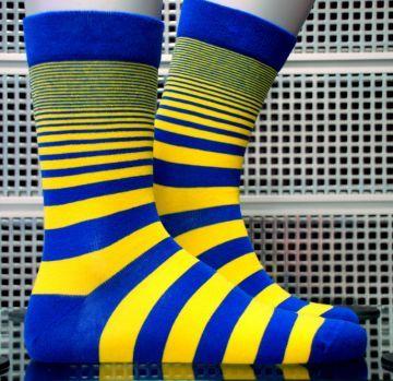 Sarı-Lacivert Desenli Özel Soket Çorap