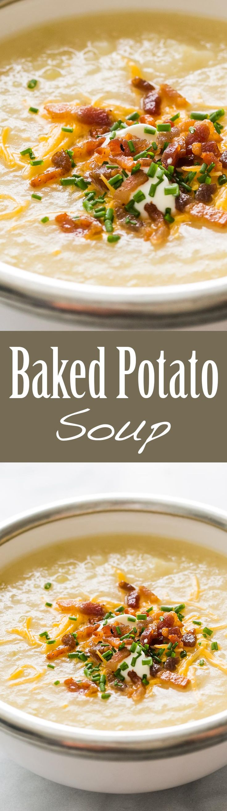 ... baked potato soup, with classic toppings of crispy bacon, sour cream
