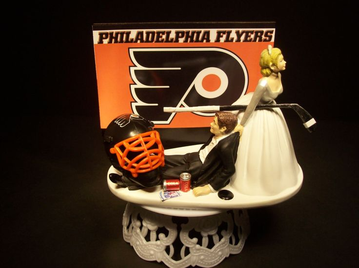 Hockey Sports Team PHILADELPHIA FLYERS Bride and Groom Wedding Cake Topper Funny Groom's Cake by mikeg1968 on Etsy https://www.etsy.com/listing/213448515/hockey-sports-team-philadelphia-flyers
