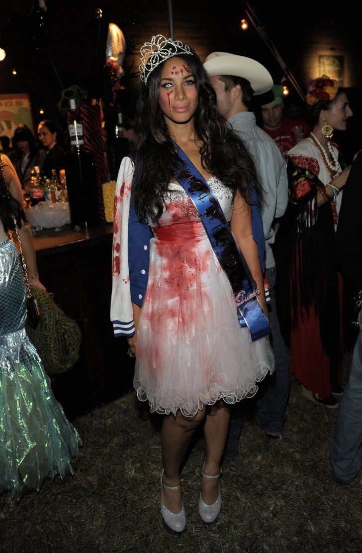 Pin for Later: 90 Cute, Crazy, and Creepy Celebrity Halloween Costumes  Leona Lewis channeled a prom-queen look gone horribly wrong in 2011.