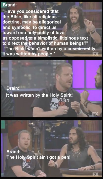 My favorite bit from the Russell Brand, Westboro Baptist Church interview - Imgur... i want brand's vocabulary