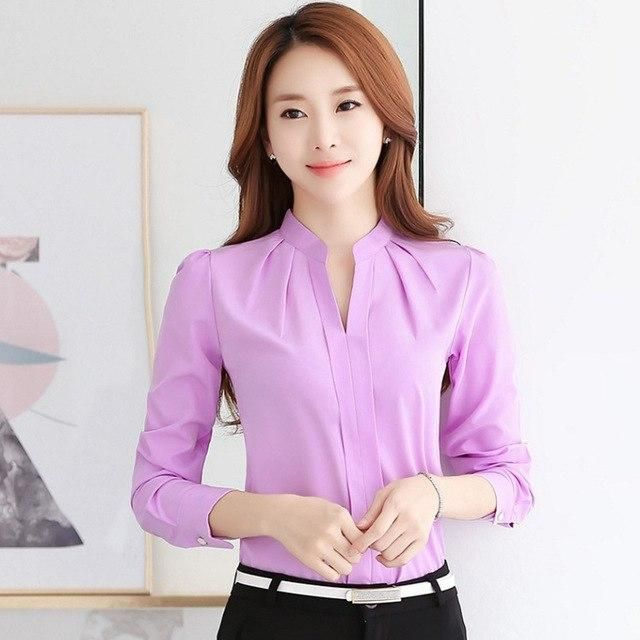 5ea754a3330516 Fashion Women Long Sleeve Chiffon Blouse V-Neck Work Wear Casual Solid  Spring Autumn Office Shirt Tops JL