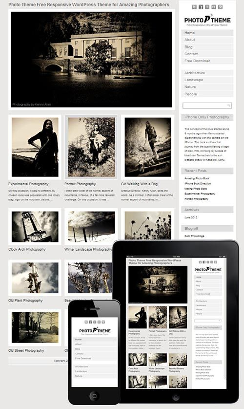 Here in this article, we are showcasing 30+ of Responsive photography WordPress themes that you can use on your photography website gallery or photo blog. Responsive themes are becoming more  popular  for all types of websites including for photography website. Here you will show  some of the best responsive photography themes ideal for photography websites.You will find both premium and free  Responsive Photography WordPress Themes organized into two sections.
