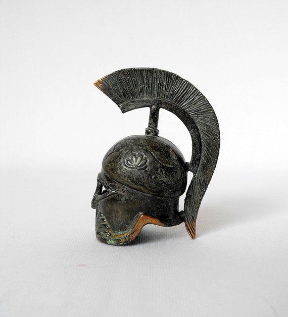 Vintage Centurion Helmet Miniature, Bronze Helmet, Bronze Sculpture, Ancient Greek Spartan Crest Helmet, Trojan Helmet, Roman, Paperweight