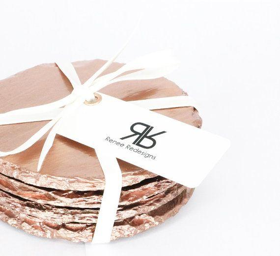 Renee Redesigns Round Rose Gold Slate Coasters by ReneeRedesigns