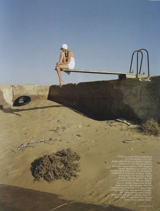 """The Terrier and Lobster: """"White Mischief"""": Agyness Deyn in the Namib Desert by Tim Walker for UK Vogue"""