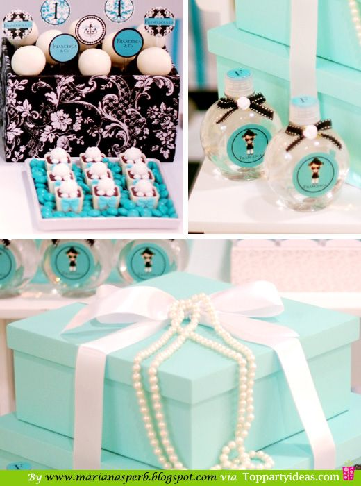 Breakfast at Tiffany's Party - Favors and giftbox with pearls
