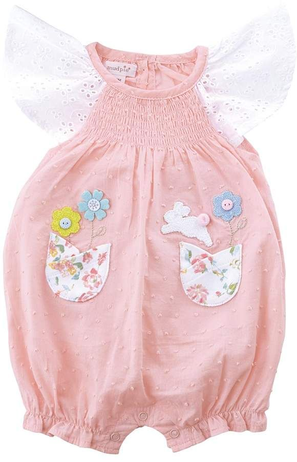 0bb293dbd15a Mud Pie - Easter Bunny Smocked Bubble Girl's Jumpsuit & Rompers One Piece #  Toddler # Church # Easter Egg Hunting