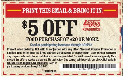 photograph regarding Texas Roadhouse Coupons Printable referred to as Logans roadhouse printable coupon codes 2018 / Absa laptop or computer promotions