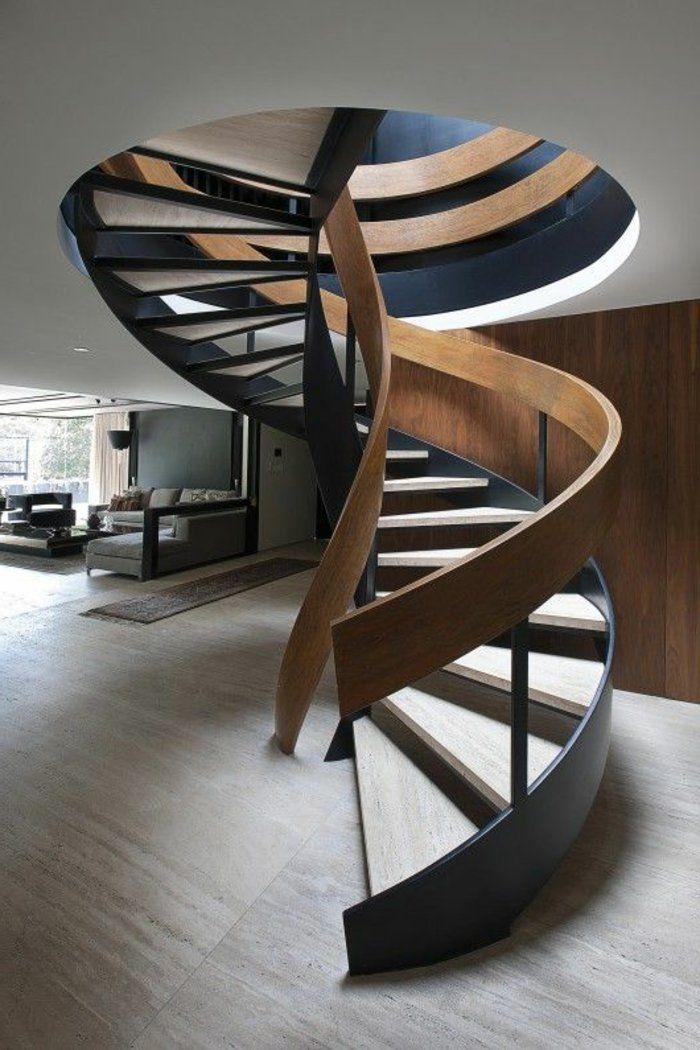 joli design d'escalier quart tournant pas cher en bois massif