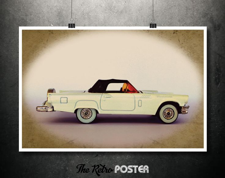 Ford Thunderbird - 1957 - Kids Gift, Kids Prints, Nursery Decor, Nursery Prints, Children Gift, Children Birthday, Advertising by TheRetroPoster on Etsy