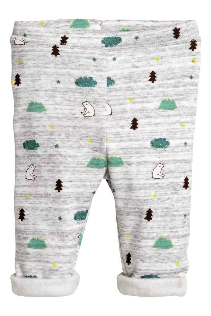 Sweatpants: Trousers in patterned sweatshirt fabric with an elasticated waist and soft, brushed fleece inside.