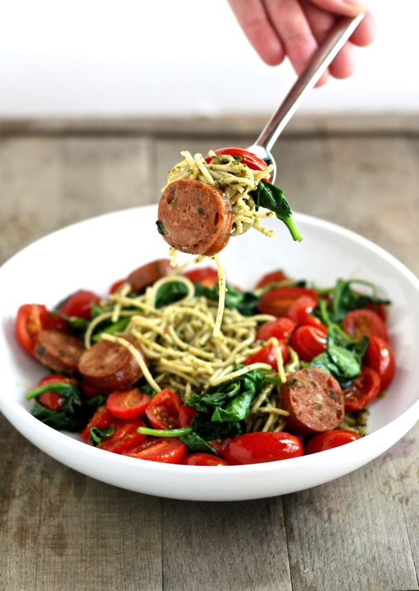 ingredient whole wheat pesto spaghetti with sautéed vegetables and ...
