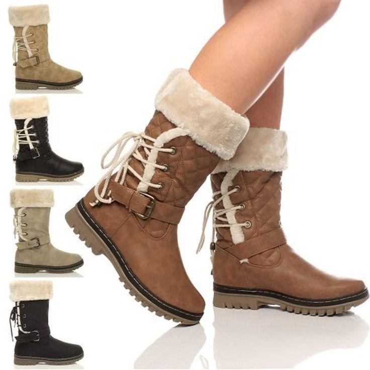 Femmes plat petit talon matelassé fourrure doublée hiver biker bottes taille #Escarpins #chaussures http://allurechaussure.com/femmes-plat-petit-talon-matelasse-fourrure-doublee-hiver-biker-bottes-taille/