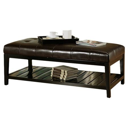 Button Tufted Coffee Table With Bottom Shelf And Kiln