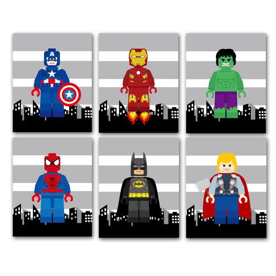 super hero lego bedroom, super hero lego wall decor, wall art prints, PICK 3 out of 8 super hero choices, shipped to your door, nursery/playroom/bedroom prints,