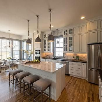 L Shaped Kitchen with Shiplap Island
