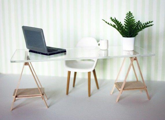 Miniature IKEA Inspired VIKA Desk for 1:12 Scale Modern Dollhouse ~ Amazing Miniatures