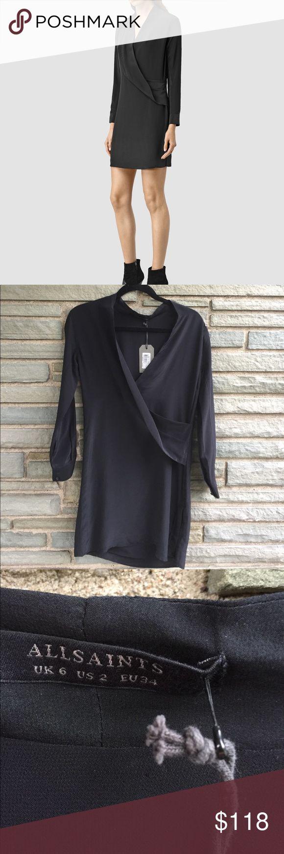 All Saints Walton Shirt Dress NWT. All Saints Walton Shirt Dress in Black. Long Sleeves, V-Neck, Interior Lining, Sheer Panel on Each Sleeve, Button Detail on Bottom Side. All Saints Dresses