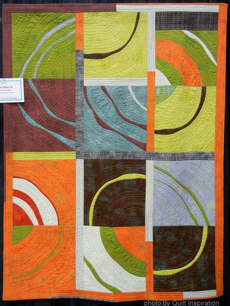 """Marianne Haak, """"Ripple Effect II """" On her blog at The Quilting Edge, Marianne says, """"I started playing with some wonky, curved piecing. The quilt seemed to make itself as I tapped into the melancholy side of my temperament... a little over three weeks later the quilt was done."""" To learn more, check out Marianne's wonky curves how-to and her wonderful quilt-as-you-go (QAYG) tutorials. Found on Quilt Inspiration: August 2014"""