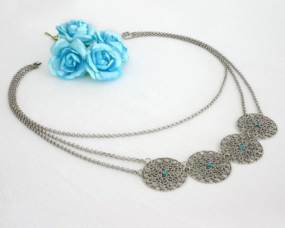 Silver statement necklace Silver necklace by AlinYerushalmi