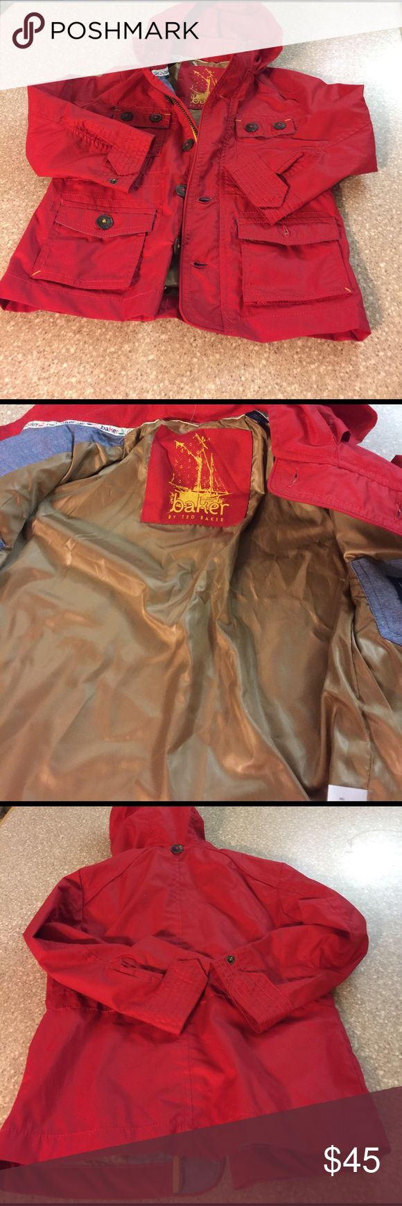 Child's coat Red lined ted baker child's coat with hood,  button down and zipper; includes inside pockets as well as pockets on front, unworn, without tags Baker by Ted Baker Jackets & Coats Raincoats