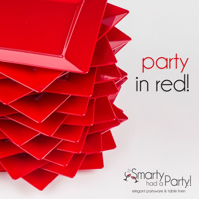 Red plates are ready to spice up your party! | SmartyHadAParty.com