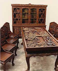 One Of A Kind Antique Hand Carved Vietnamese Furniture. Only 1 Set  Available!