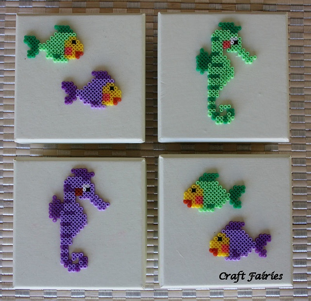 Perler fishies and sea horsies