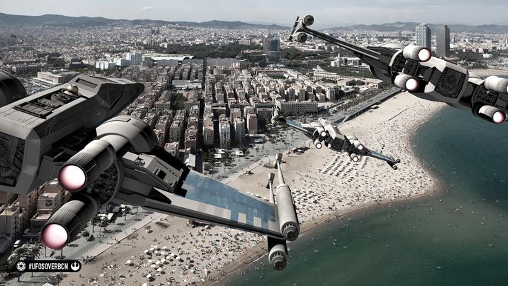 UFOs over Barcelona. Homenaje a Star Wars. #starwars #theforceawakens #TIE #TIEfighter #xwing #xwingfighter #barcelona
