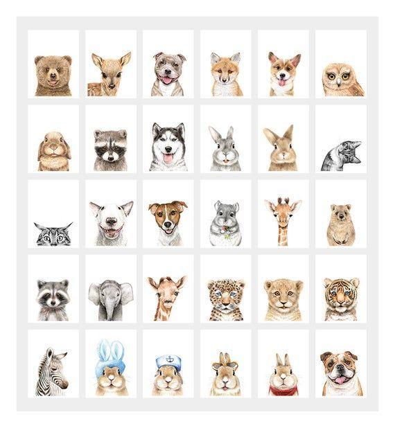Nursery Decor Print Nursery Animals Print Nursery Wall Art