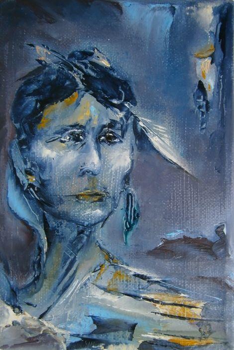 Yvonne Brøndum, THE INDIAN - OIL ON CANVAS 12X18 on ArtStack #yvonne-brondum…