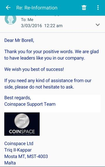 One thing Coinspace is best at it's support system nothing but the best for all its Investor's and Representatives.