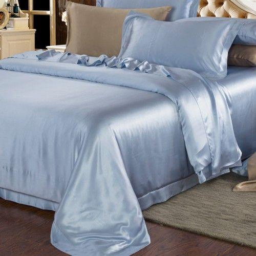 Hell Blau, Dieses 6-teilige #Bettwäsche-Set aus Seide umfasst 2 Seide Kissenbezüge Oxford-, 2 Seide Kissenbezüge Hausfrauen, 1 Seide spannbettlaken, 1 Seide bettbezug.   Ihr Haar, Ihr ganzer Körper besser werden, und das Tag für Tag.