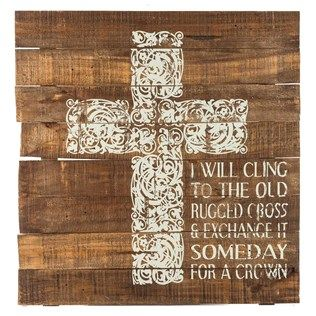"""Share your beliefs and faith with beautiful, inspiring wall art. Stained brown with a flourishing cream cross and cream text, Cling to the Old Rugged Cross Wooden Sign offers the perfect chic rustic piece of decor for your home or office. Hang it in your living room, bedroom, study, home library, and more! Dimensions: Length: 25"""" Width: 24"""" Thickness: 1 1/8"""" Hanging Hardware: 2 - Metal Triangle Hooks (18 ..."""