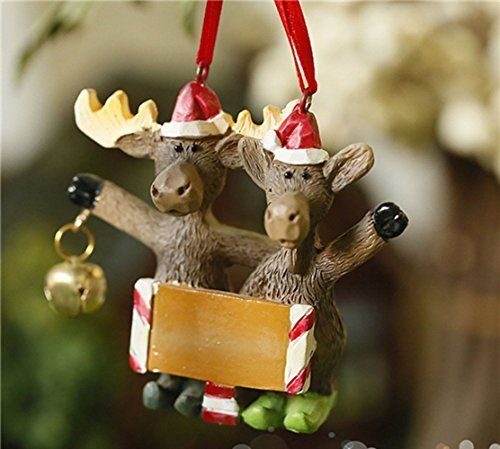 3 Christmas Characters Polyresin Cheering Elk Couple Openning Arms to Welcome Holiday Celebrations Santa Hats Jingle Bell Christmas Tree Hanging Ornaments Kids Presents for Home Decorations *** Learn more by visiting the image link.