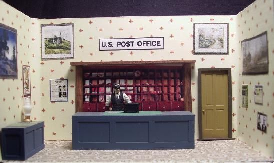 Post Office interior for O gauge building. Custom made for Ameritown buildings. Can be customized for other O scale buildings (MTH, Cornerstone, etc).  http://www.realcustomrailroads.com/storeinteriors.html