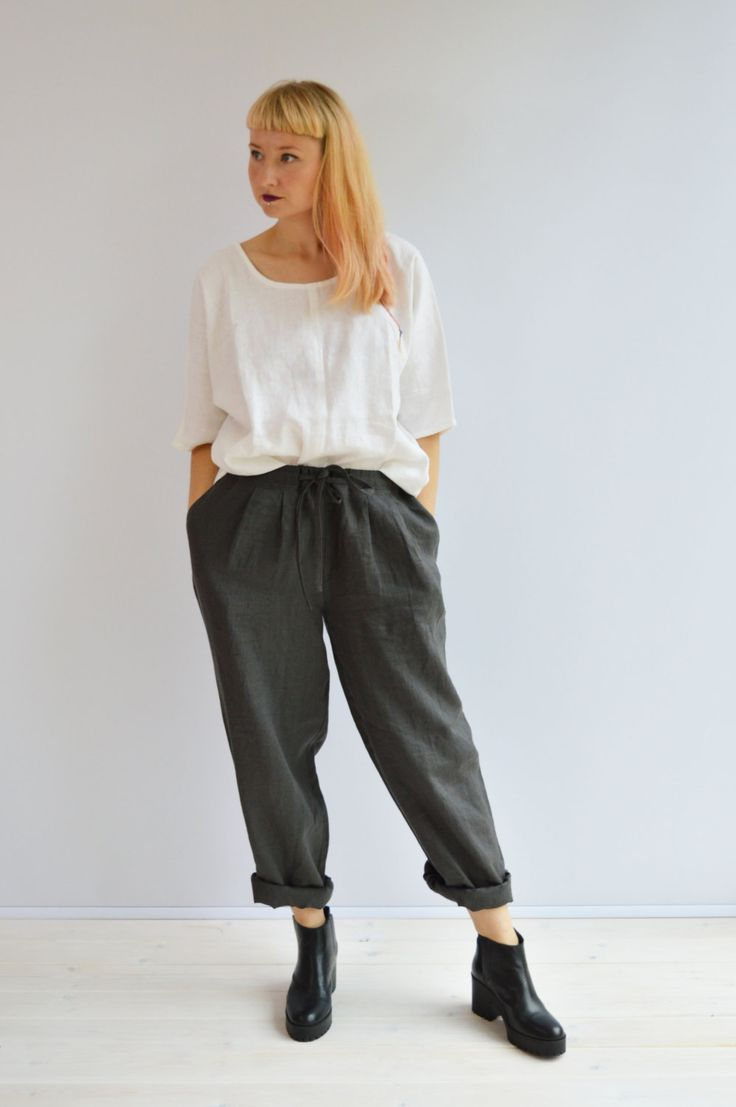 Loose Linen Pants, Linen Trousers, Pegged Trousers, Womens Pants, Womens Trousers, Pegged Pants, Loose Pants for Women, Plus Size Pants by linenbees on Etsy