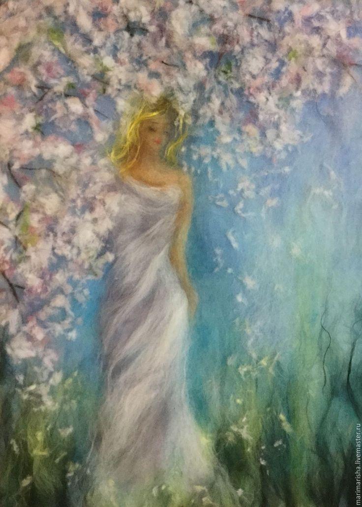 Купить Картина из шерсти Весенняя рапсодия - бирюзовый, картина из шерсти, живопись шерстью, шерстяная акварель