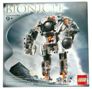 Lego Bionicle Boxed Set Exo-Toa #8557 Impossible to Find! by Lego. $94.88. Made by Lego in 2002 and long out of production.. Set contains 360 Parts.. Lego Bionicle Mata Nui Exo-Toa Set #8557. Amazon.com                The Exo-Toa, according to the mythos of the popular LEGO Bionicle series, is a suit of armor hidden deep beneath the surface of the land known as Mata Nui. Should the Bohrok (those are the bad guys) cause trouble, only the Toa (the good guys) clad in...