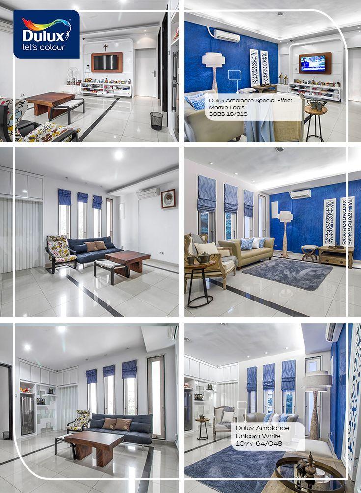 DIY menata ulang ruang keluarga dengan mengaplikasikan effect Marble. By Dulux