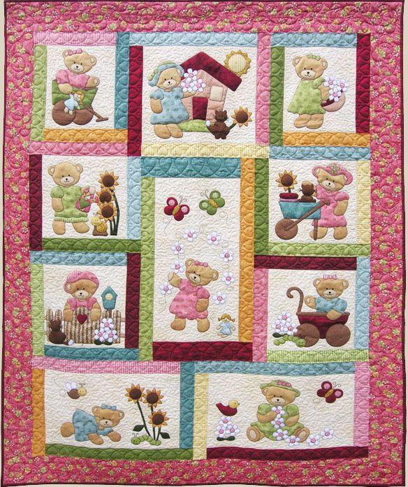 Kids Quilts - Daisy Bear Pattern   Quilts para niños ...