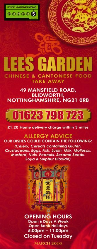 Menu for Lees Garden Chinese takeaway on Mansfield Road in Blidworth NG21 0RB. For the full menu - http://www.menulation.com/lees-garden-chinese-takeaway-menu.html #Chinese #takeaway #menu #Mansfield #Blidworth #takeawaymenu #foodmenu