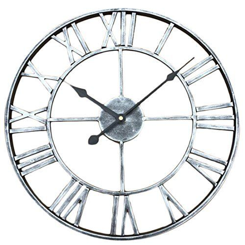 Fcoson Vintage Metal Clock Hollowed-out Roman Numeral Silent Clock 20-inch Large Round Decorative Clock for Living Room Bedroom Kitchen Silver  #20Inch #Bedroom #Clock #Decorative #Fcoson #Hollowedout #Kitchen #Large #Living #Metal #Numeral #Roman #Room #Round #RusticMantelClock #Silent #Silver #Vintage The Rustic Clock