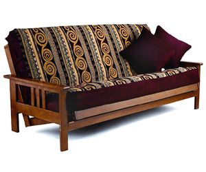 The Hampton Convertible Futon by Lifestyle Solutions is an ingenious combination of transitional sleigh arm styling with a touch of modernism. Stylish and functional, the Hampton is perfect for any room setting. Warm maroon highlighted with gold yellow and soft cream. A futon cover to carry from Thanksgiving through to the holiday season