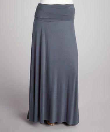 Loveappella Dark Gray Roll-Top Maxi Skirt - Plus | Gray maxi ...